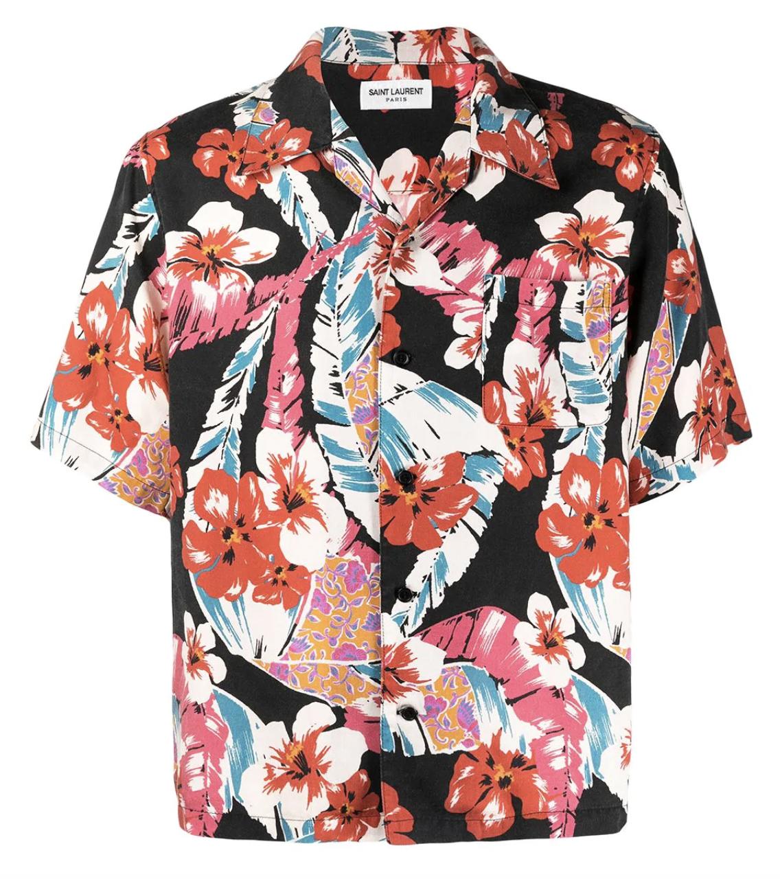 saint laurent floral shirt mens