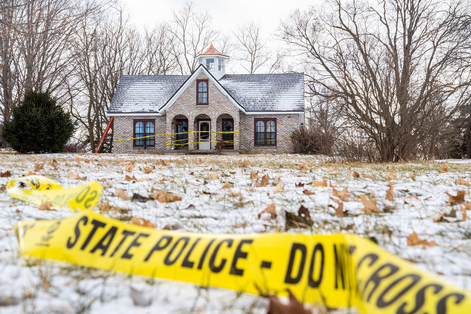 January 8, 2020, USA: Police tape remains around the home of Mark Latunski on Tyrell Rd. In Morrice, Michigan on Wednesday, January 8, 2020. Latunski is accused of killing and eating parts of his Grindr date, Kevin Bacon of Swartz Creek, at Latunski's home in Bennington Township. (Credit Image: © TNS via ZUMA Wire)