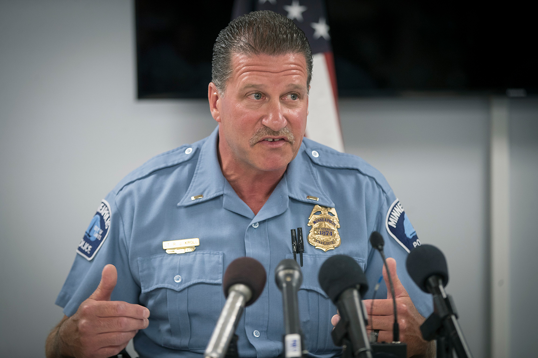 FILE - In this July 30, 2018 file photo, Minneapolis Police Union President Lt. Bob Kroll speaks during a news conference regarding the release of body camera footage in the police shooting death of Thurman Blevins, at the Minneapolis Police Federation headquarters in Minneapolis. Kroll has been steadfast over the years in defending officers' conduct. And in a letter to members in June 2020, he blasted state and city leaders for failing to support the Minneapolis Police Department following George Floyd's death. (Elizabeth Flores/Star Tribune via AP)