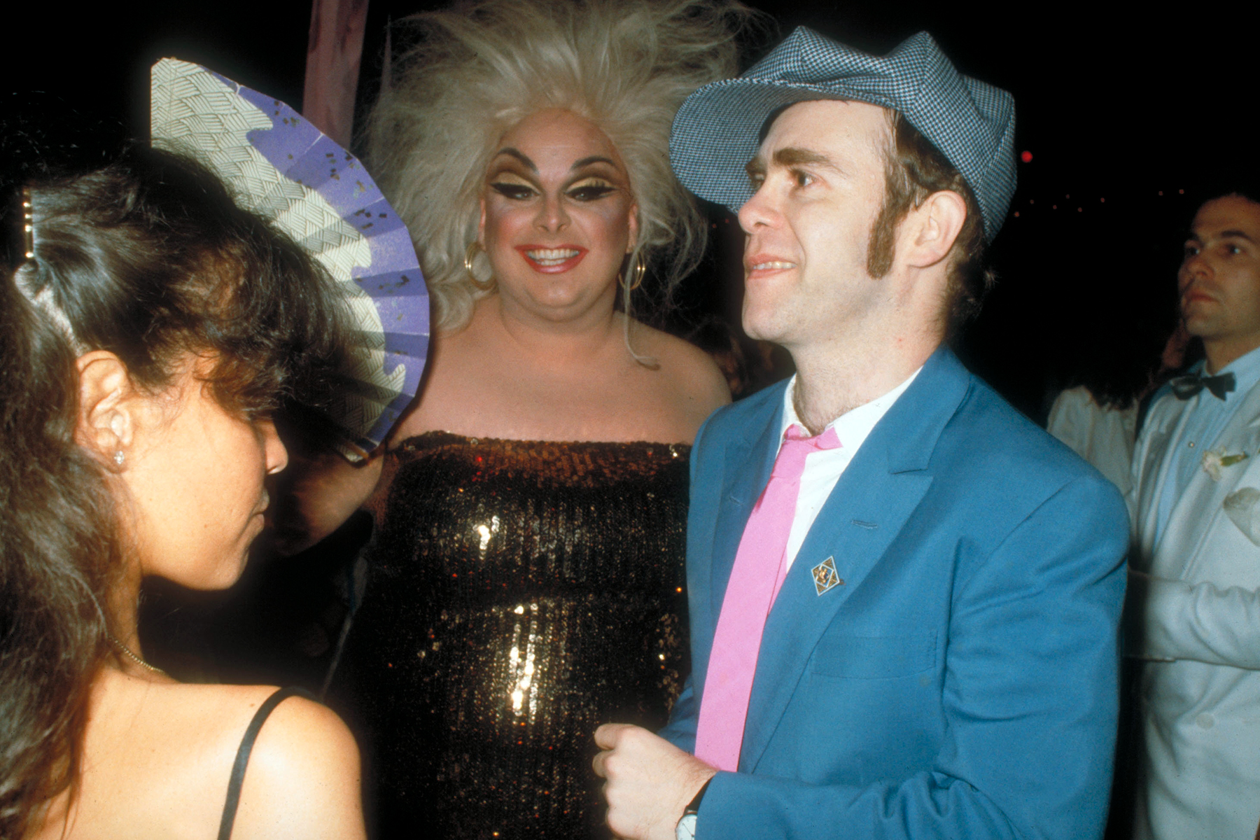 Singer Elton John with Divine. (Photo by Robin Platzer/The LIFE Images Collection via Getty Images/Getty Images)