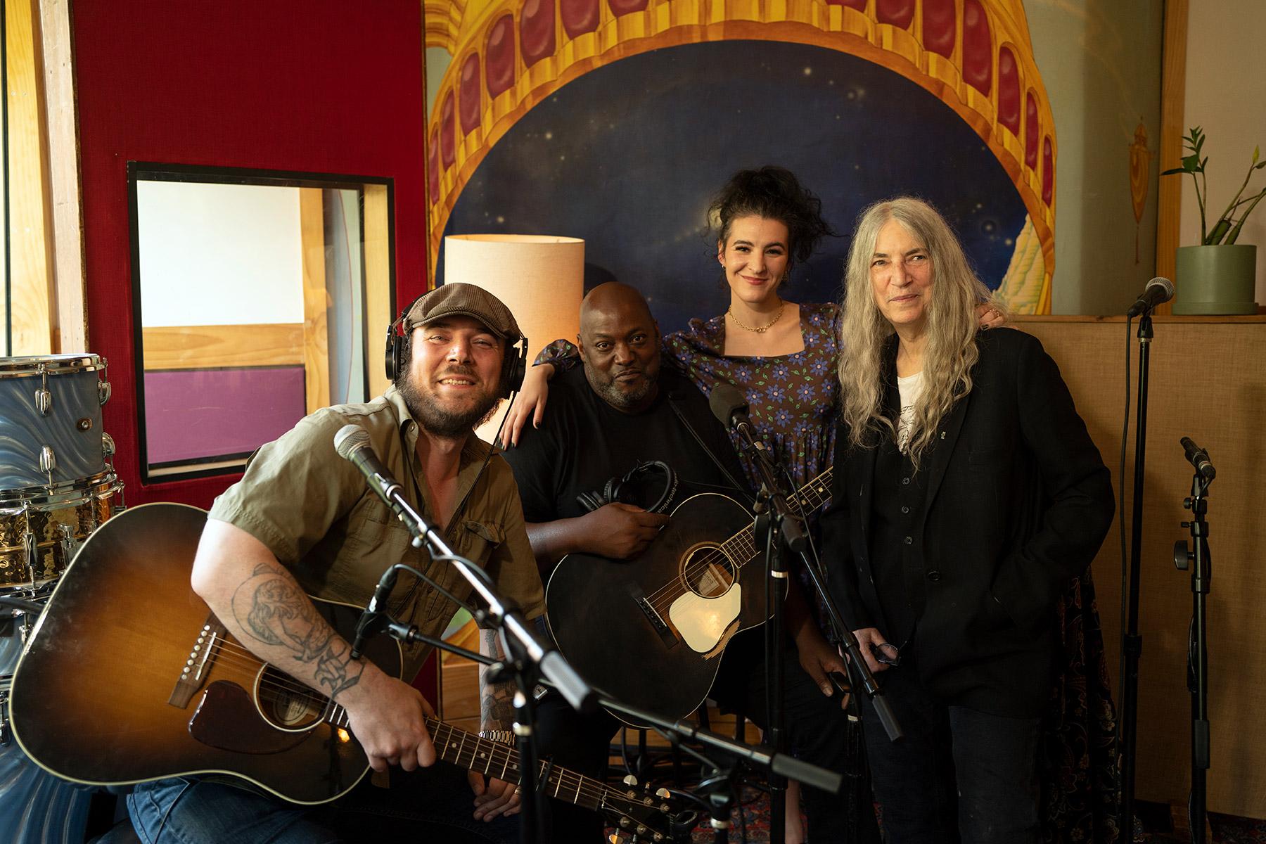 Jackson Smith, Tomás Doncker, Jesse Paris Smith and Patti Smith at Electric Lady Studios in New York.