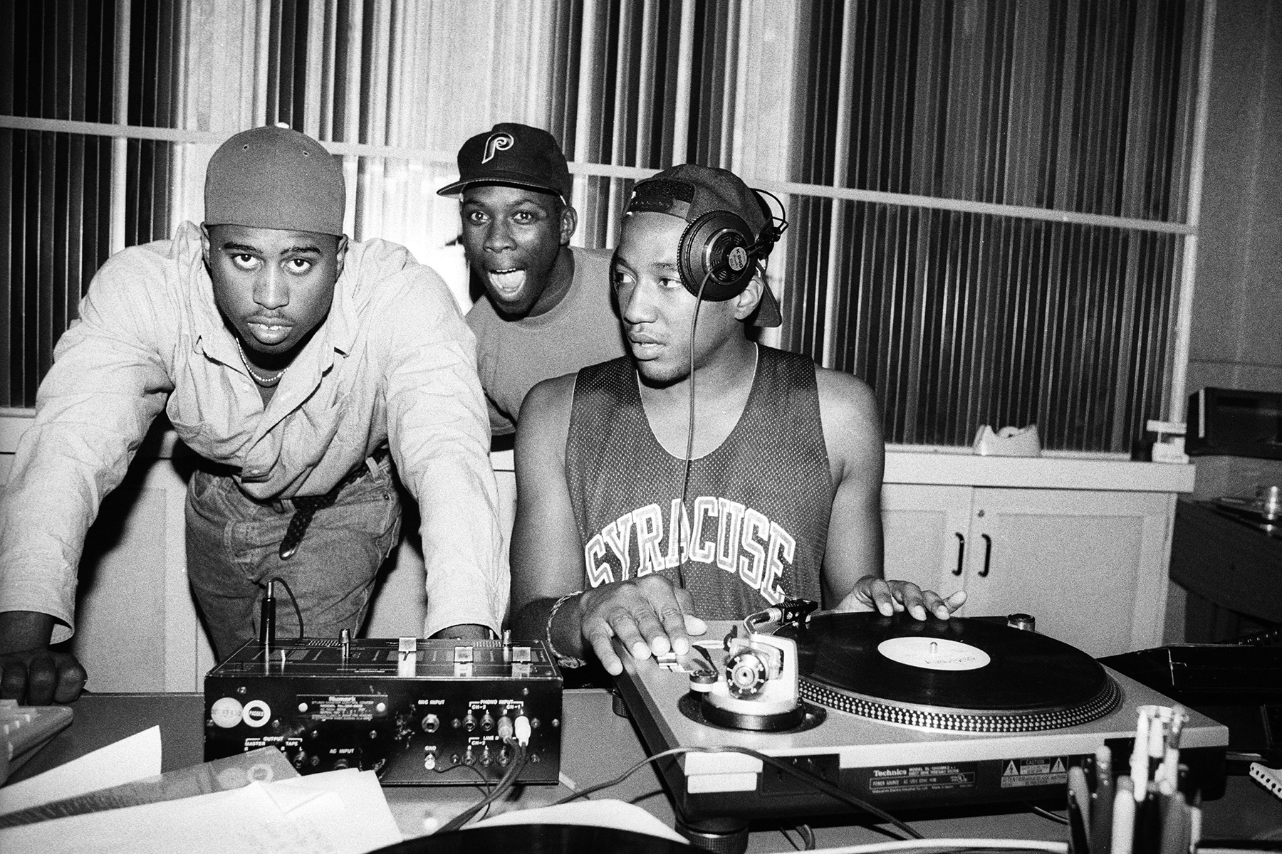 NEW YORK, NY: September 10, 1991: Ali Shaheed Muhammad, Pfife and Q-Tip of A Tribe Called Quest in the recording studio in New York City on September 10, 1991. (Photo By Al Pereira/Getty Images/Michael Ochs Archives)