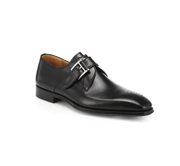 MAGNANNI Leather Monk-Strap Dress Shoes