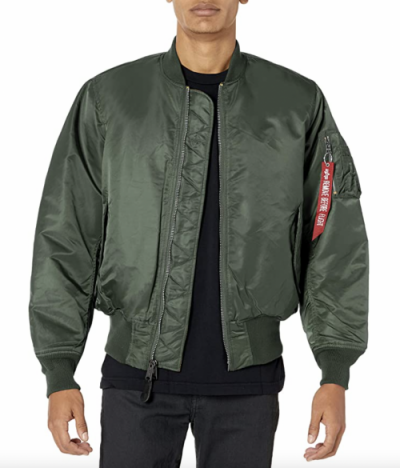green bomber jacket red flight tag