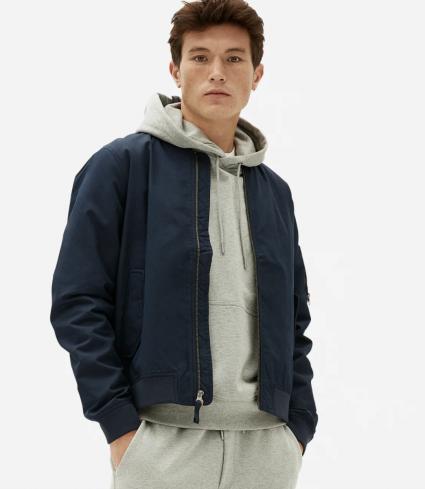 Blue bomber jacket cotton