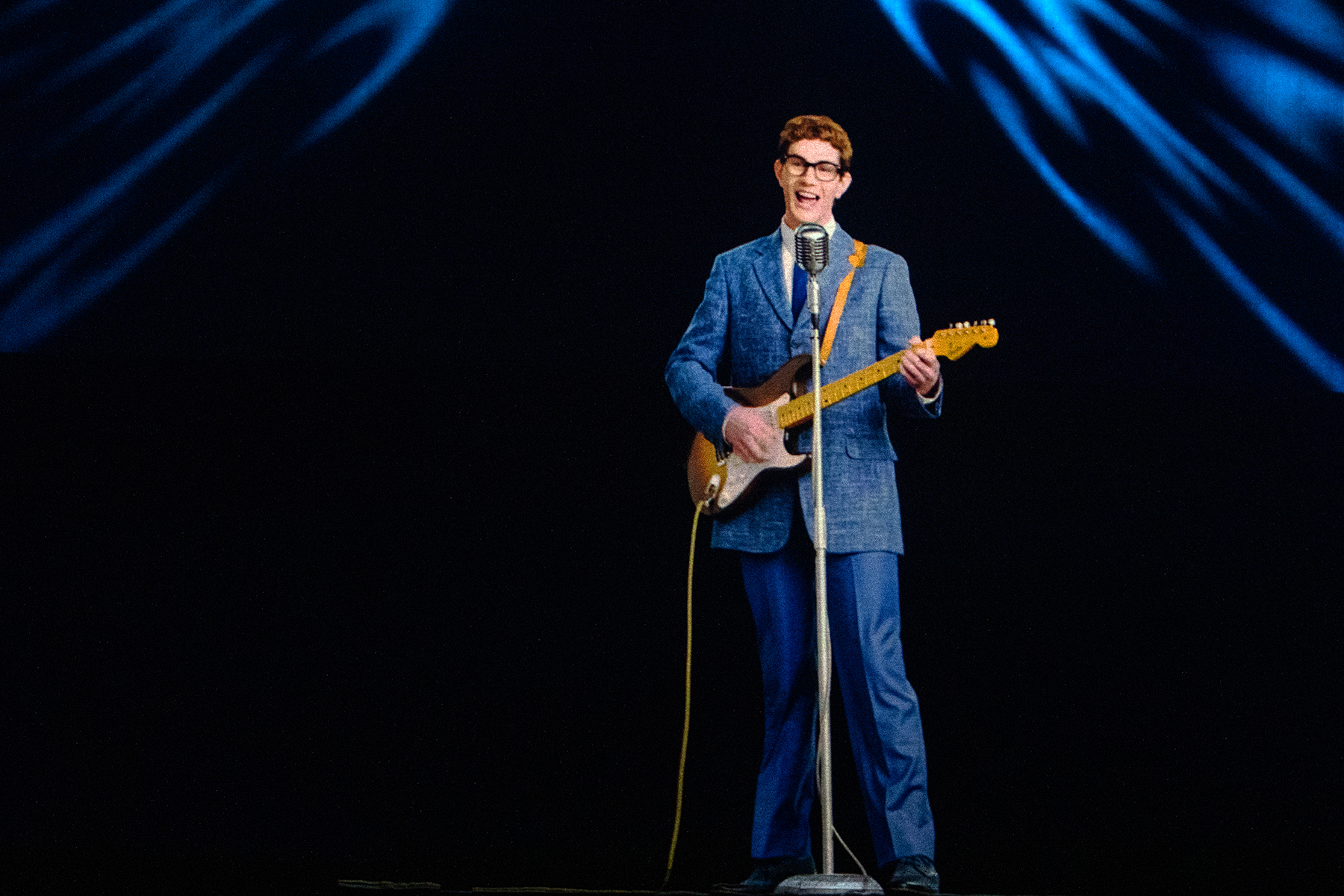 MADRID, SPAIN - FEBRUARY 12: A hologram of American singer Buddy Holly performing is projected on stage at Teatro La Estación on February 12, 2021 in Madrid, Spain. (Photo by Aldara Zarraoa/Redferns)