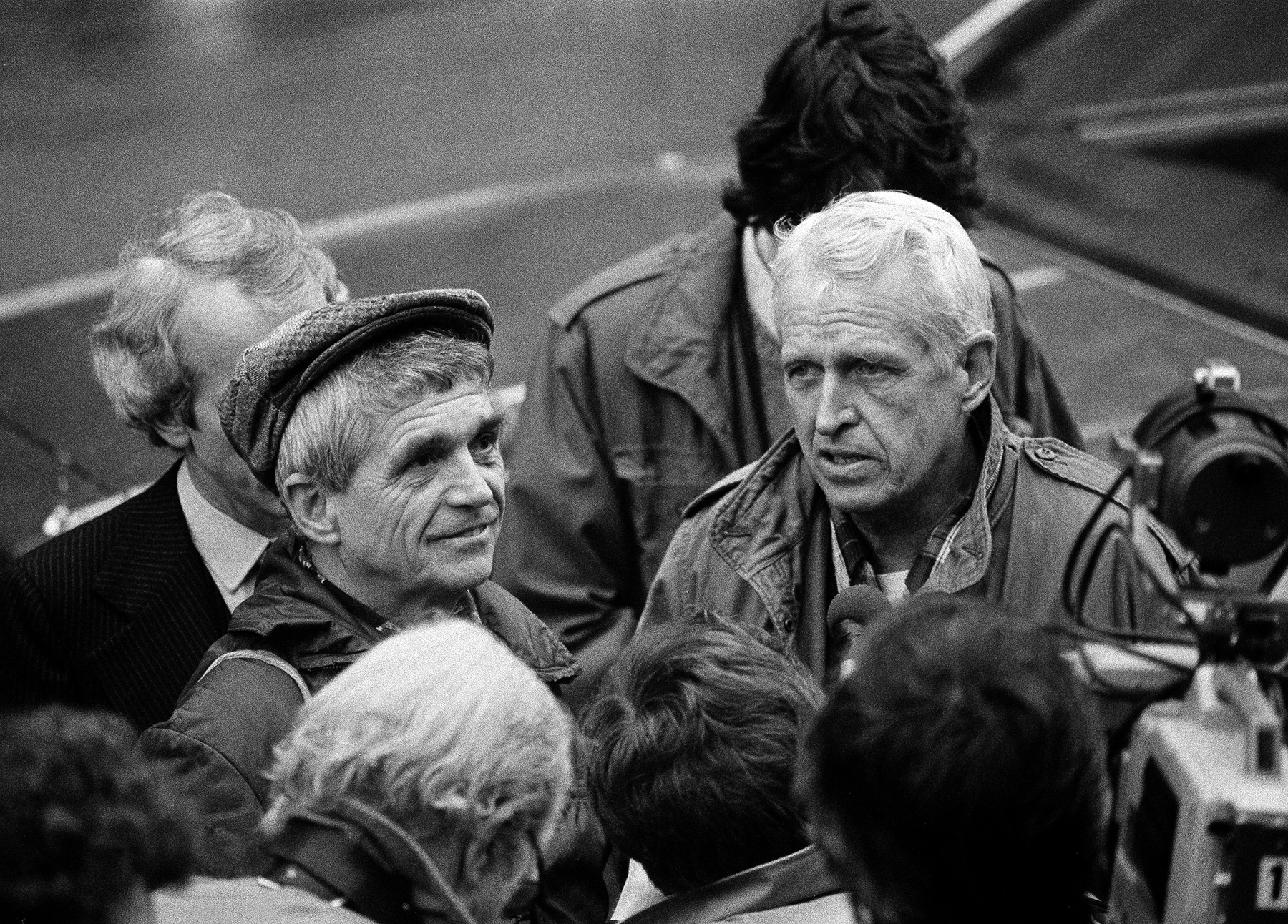 Jesuit priests and anti-war activists, Fr. Daniel Berrigan, left, and his brother Fr. Philip Berrigan, are pictured outside the Montgomery County Court House in Norristown, Penn., Feb. 23, 1981. They are being tried in connection with burglary, assault and criminal mischief at a nuclear weapons plant, along with other members of the Plowshares Eight, in King of Prussia, Penn. (AP Photo/Paul Shane)