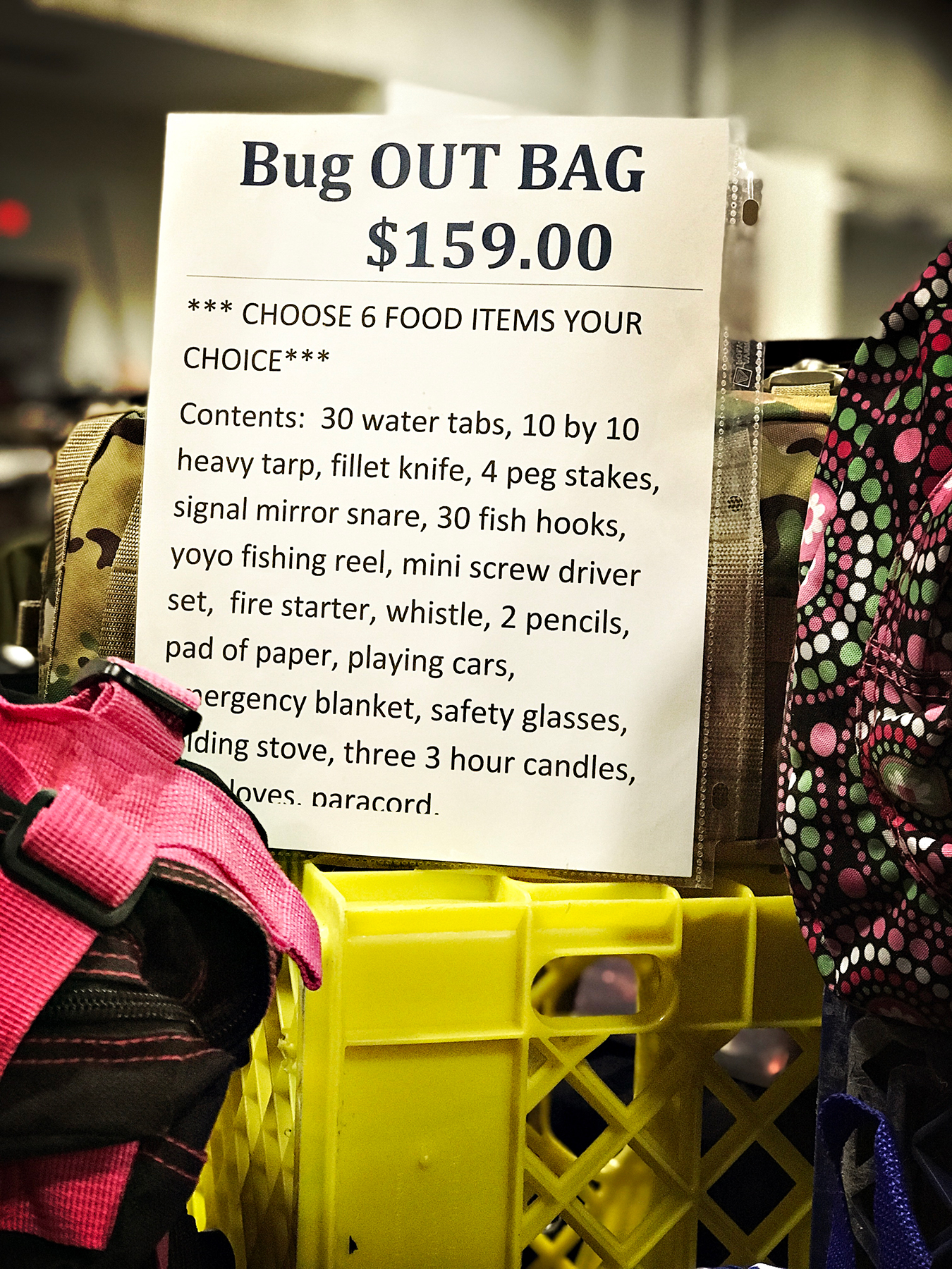 Bug-out-bags for sale in Louisville.