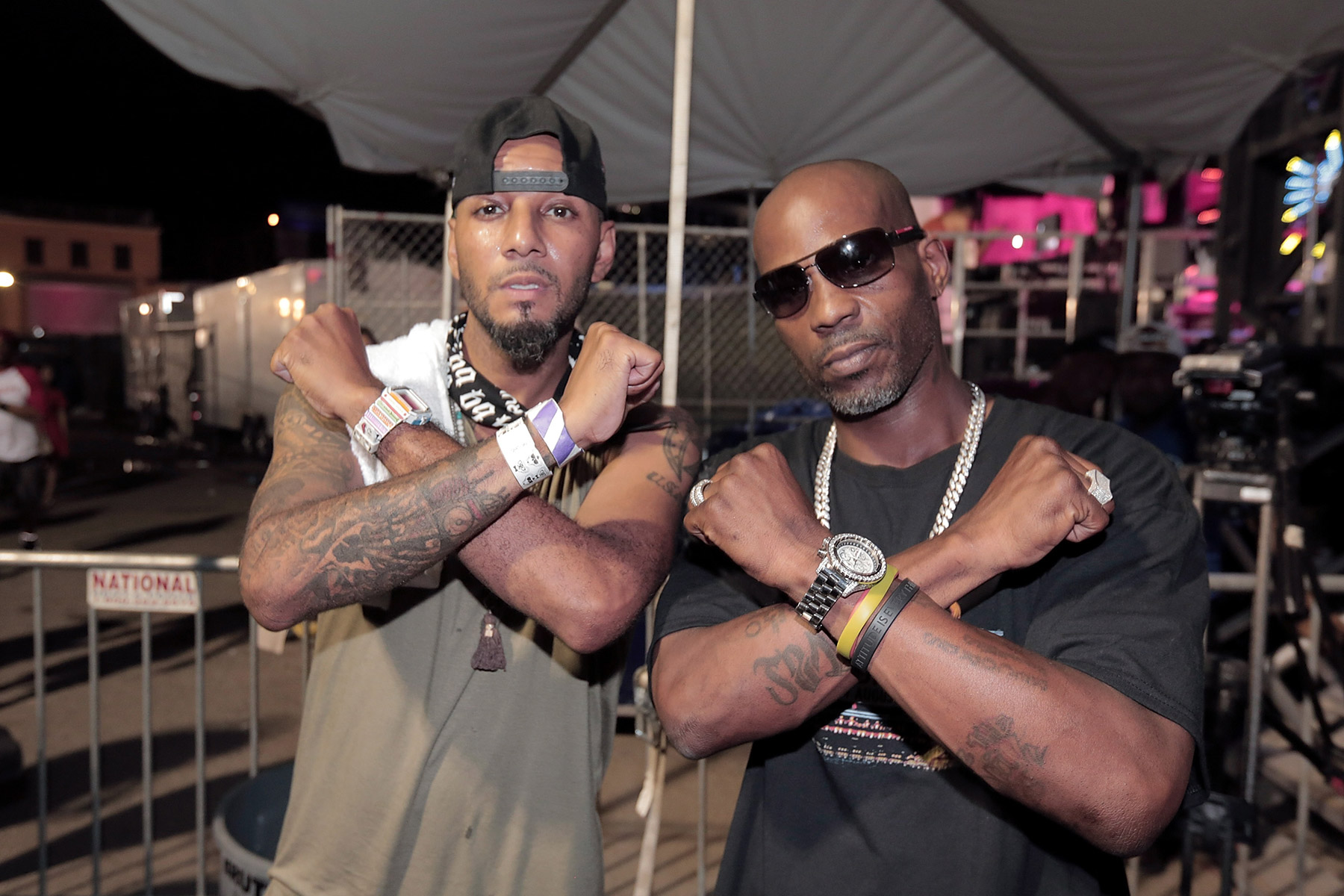 NEW YORK, NY - AUGUST 12: Swiss Beatz and DMX during Swizz Beatz And Bacardi Present No Commission NY: Art Perform - Day 2 on August 12, 2016 in New York City. (Photo by Johnny Nunez/WireImage)