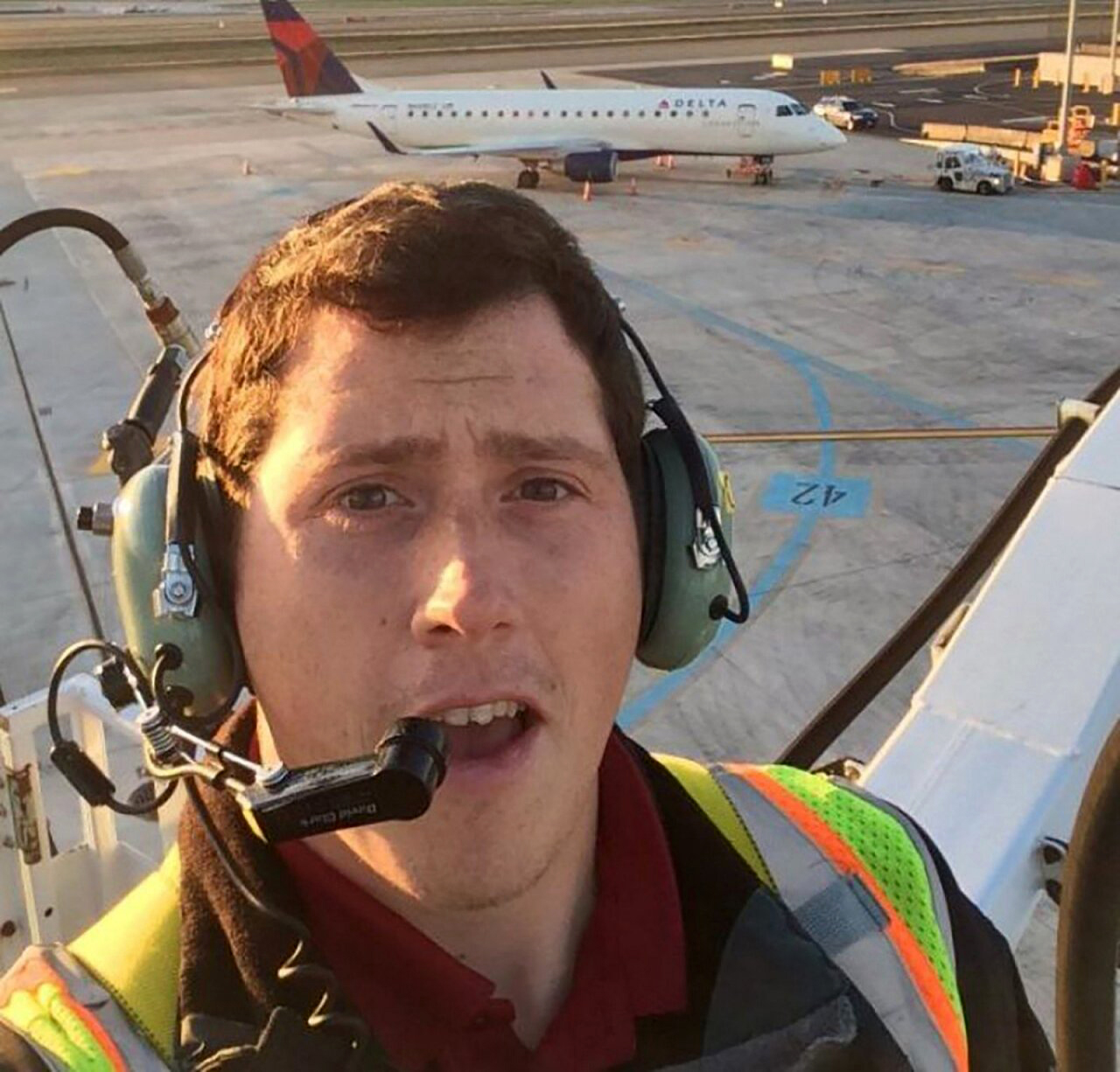 """UNAUTHORIZED DEPARTURE: Russell took a job as a ground-service agent with Horizon Air in 2015, which afforded him free flights home to Alaska. """"I lift a lot of bags — soooooo many bags,"""" he said."""