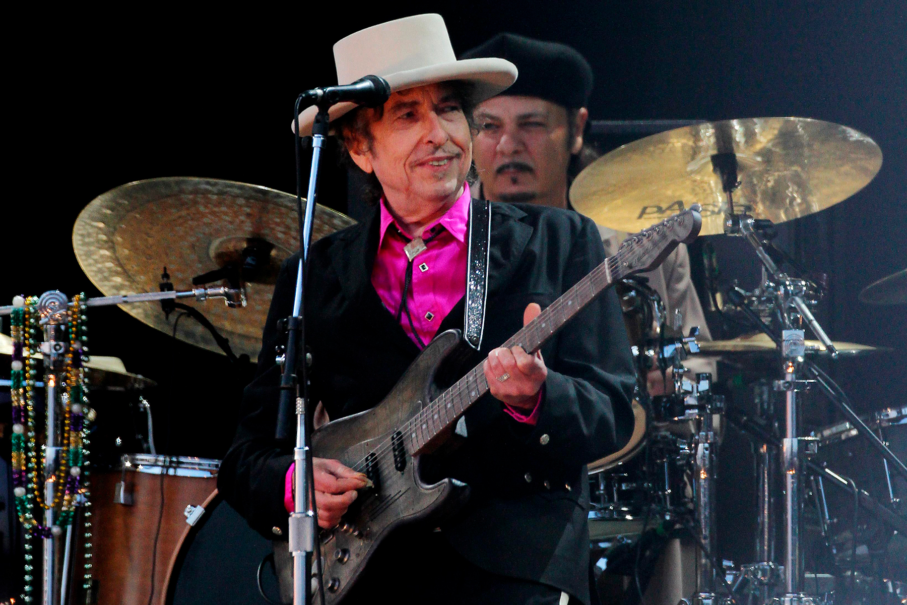 UMPG acquires Bob Dylan back catalogue. File photo dated 03/07/10 showing Bob Dylan performing on stage at the Hop Farm Festival, Paddock Wood Kent. Dylan's entire back catalogue has been acquired by Universal Music Publishing Group (UMPG). The agreement, one of the largest in recent years, covers the copyrights to 600 of the 79-year-old US musician's tracks spanning his six-decade career. Issue date: Monday December 7, 2020. It is understood that Dylan's catalogue was acquired from the artist himself. See PA story SHOWBIZ Dylan. Photo credit should read: Gareth Fuller/PA Wire URN:56989576 (Press Association via AP Images)