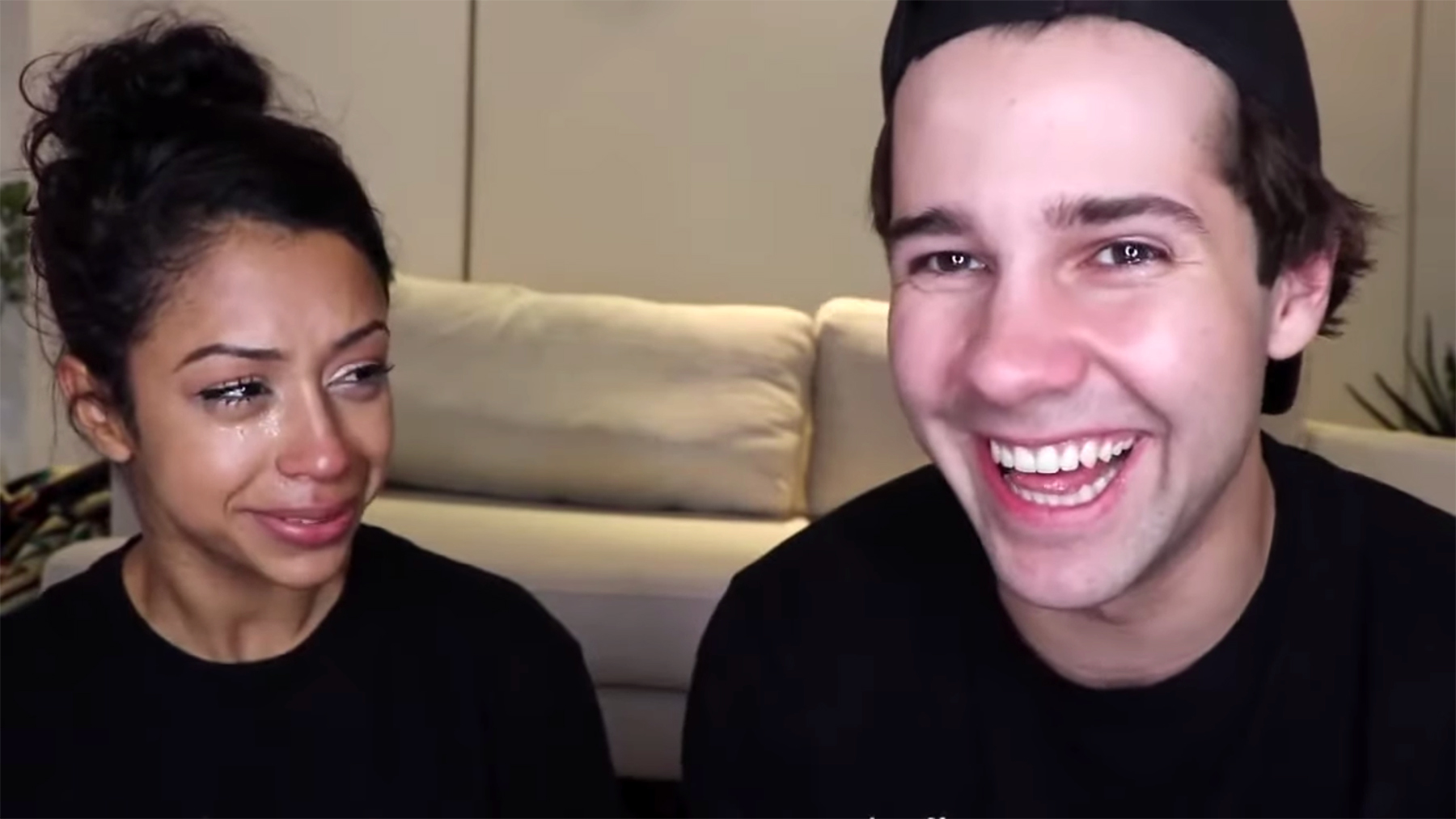 Dobrik with then- girlfriend Liza Koshy, another social media influencer, in their famous breakup video, which was viewed over 60 million times.
