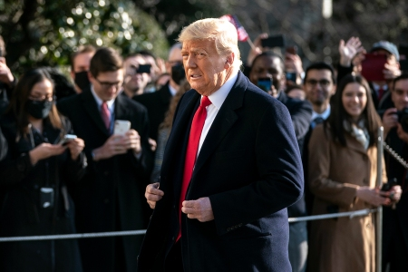 WASHINGTON, DC - JANUARY 12: U.S. President Donald Trump exits the White House to walk toward Marine One on the South Lawn on January 12, 2021 in Washington, DC. Following last week's deadly pro-Trump riot on Capitol Hill, President Trump is making his first public appearance with a trip to the border town of Alamo, Texas to view the partial construction of the wall along the U.S.-Mexico border. (Photo by Drew Angerer/Getty Images)