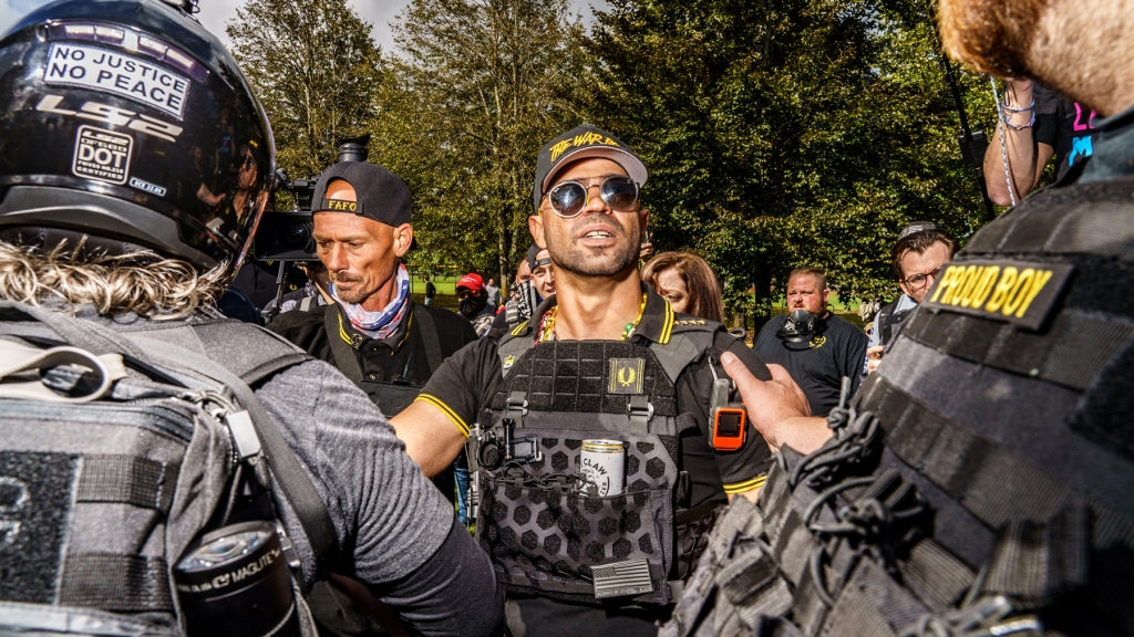 Hundreds of far-right Proud Boys and their supporters held a rally in Delta Park in Portland, Oregon, September 26, 2020. The organizers expected thousands more than actually attended, and some were armed, and showed their support for Donald Trump. Proud Boys chairman, Enrique Tarrio.