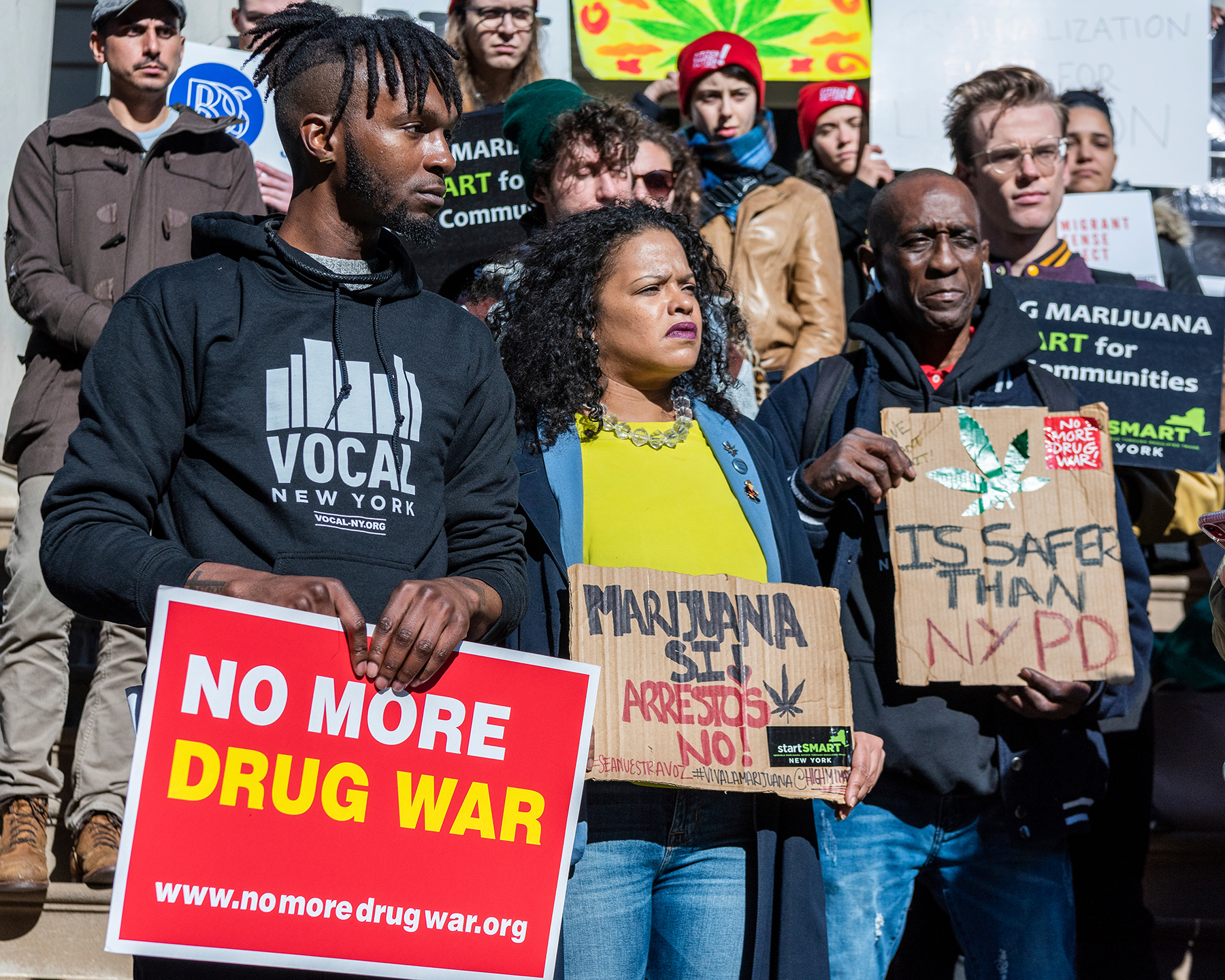 Supporters of the Marijuana Regulation and Taxation Act (MRTA) rally on the steps of New York City Hall on November 21, 2019. The law would legalize and regulate the use of marijuana in New York State, ending disproportionate policing and providing millions of dollars in tax revenue. (Photo by Gabriele Holtermann-Gorden/Sipa USA)(Sipa via AP Images)