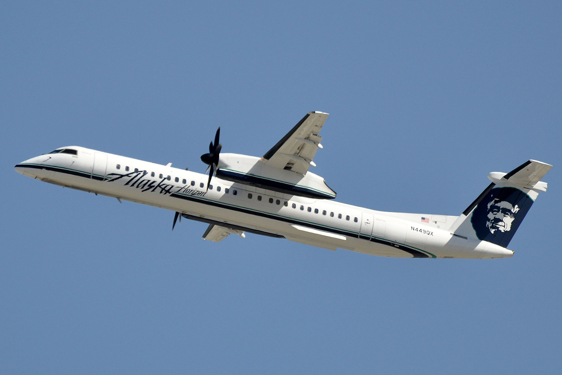 The Horizon Air Bombardier Dash 8 Q400, part of Alaska Air's fleet, which was commandeered by Russell.