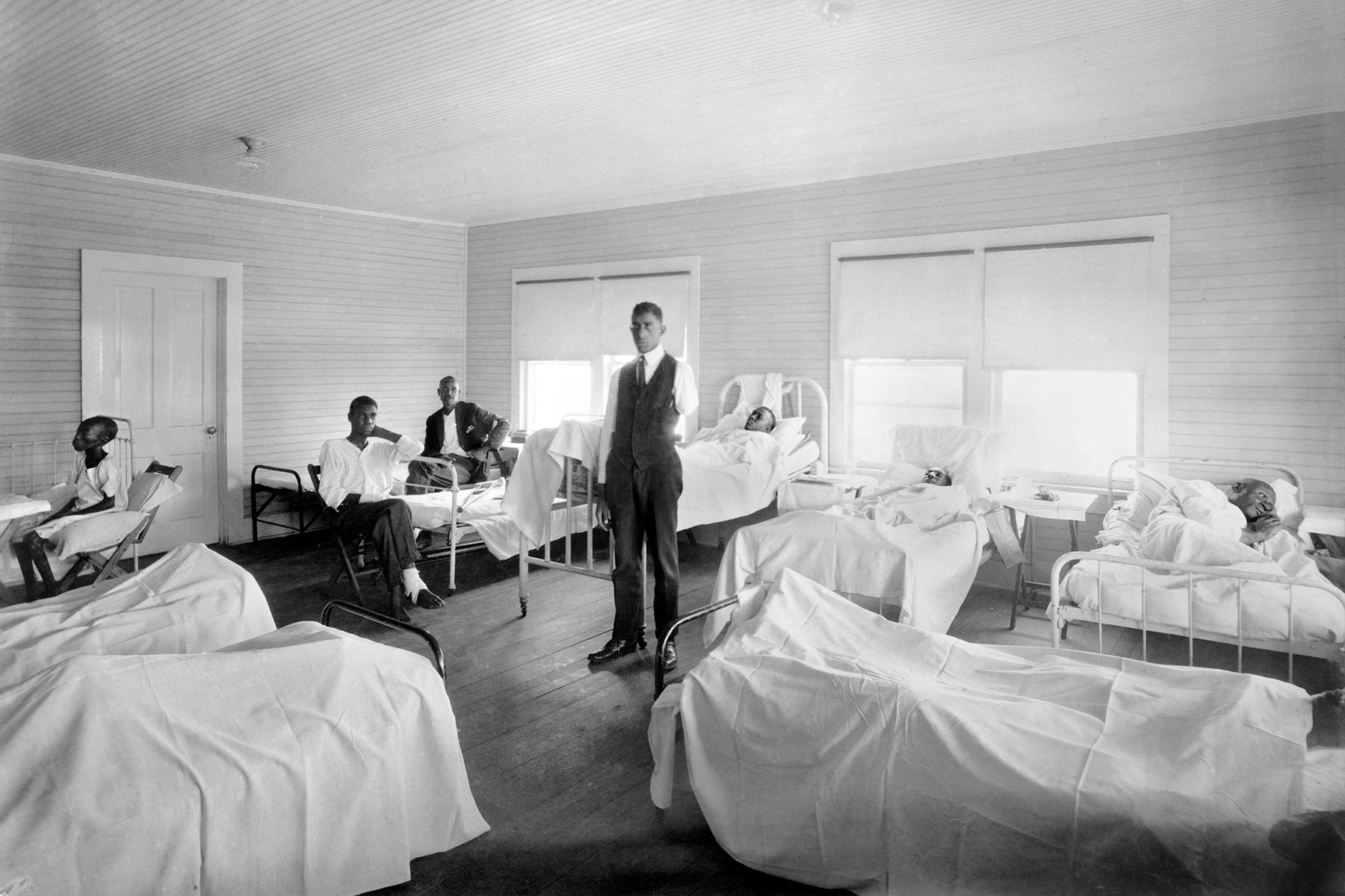 Patients recovering from Effects of Race Riot of June 1st,, American Red Cross Hospital, Tulsa, Oklahoma, USA, American National Red Cross Photograph Collection, November 1921. (Photo by: GHI/Universal History Archive/Universal Images Group via Getty Images)