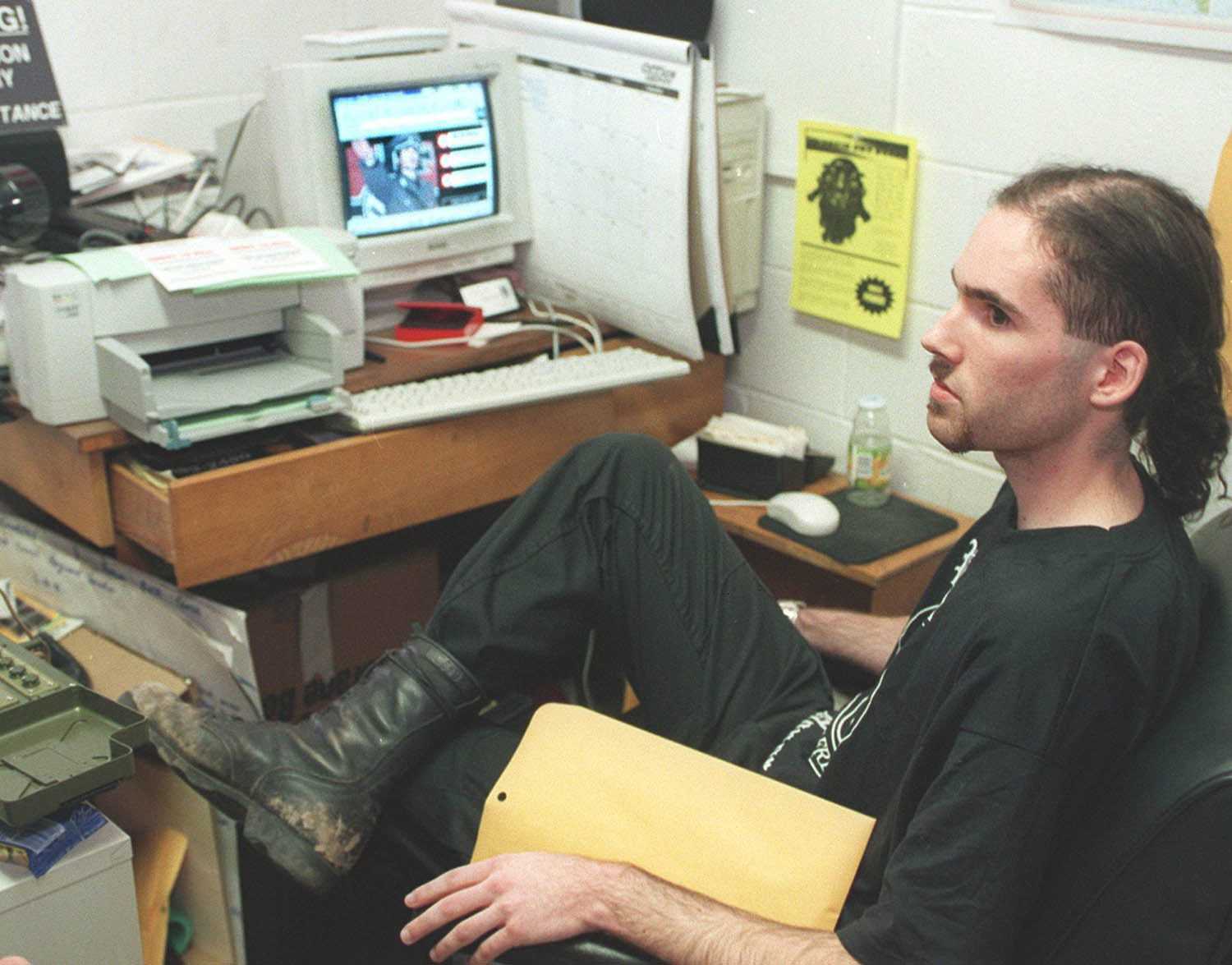 Davis Wolfgang Hawke sits in his dorm, in this undated photo, on the Wofford campus in Spartanburg, S.C. AOL is preparing to dig for buried gold and platinum on property in Massachusetts owned by the parents of Hawke, a man it sued for sending millions of unwanted spam e-mails to its customers. AOL won a $12.8 million judgment last year in U.S. District Court in Virginia against Hawke but has been unable to contact Hawke to collect any of the money he was ordered to pay. (AP Photo/Spartanburg Herald-Journal, Gerry Pate)