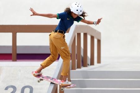 TOKYO, JAPAN - JULY 26:  Rayssa Leal of Team Brazil competes during the Women's Street Final on day three of the Tokyo 2020 Olympic Games at Ariake Urban Sports Park on July 26, 2021 in Tokyo, Japan. (Photo by Patrick Smith/Getty Images)