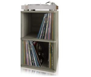 Way Basics Vintage Vinyl Record Cube 2-Shelf Storage