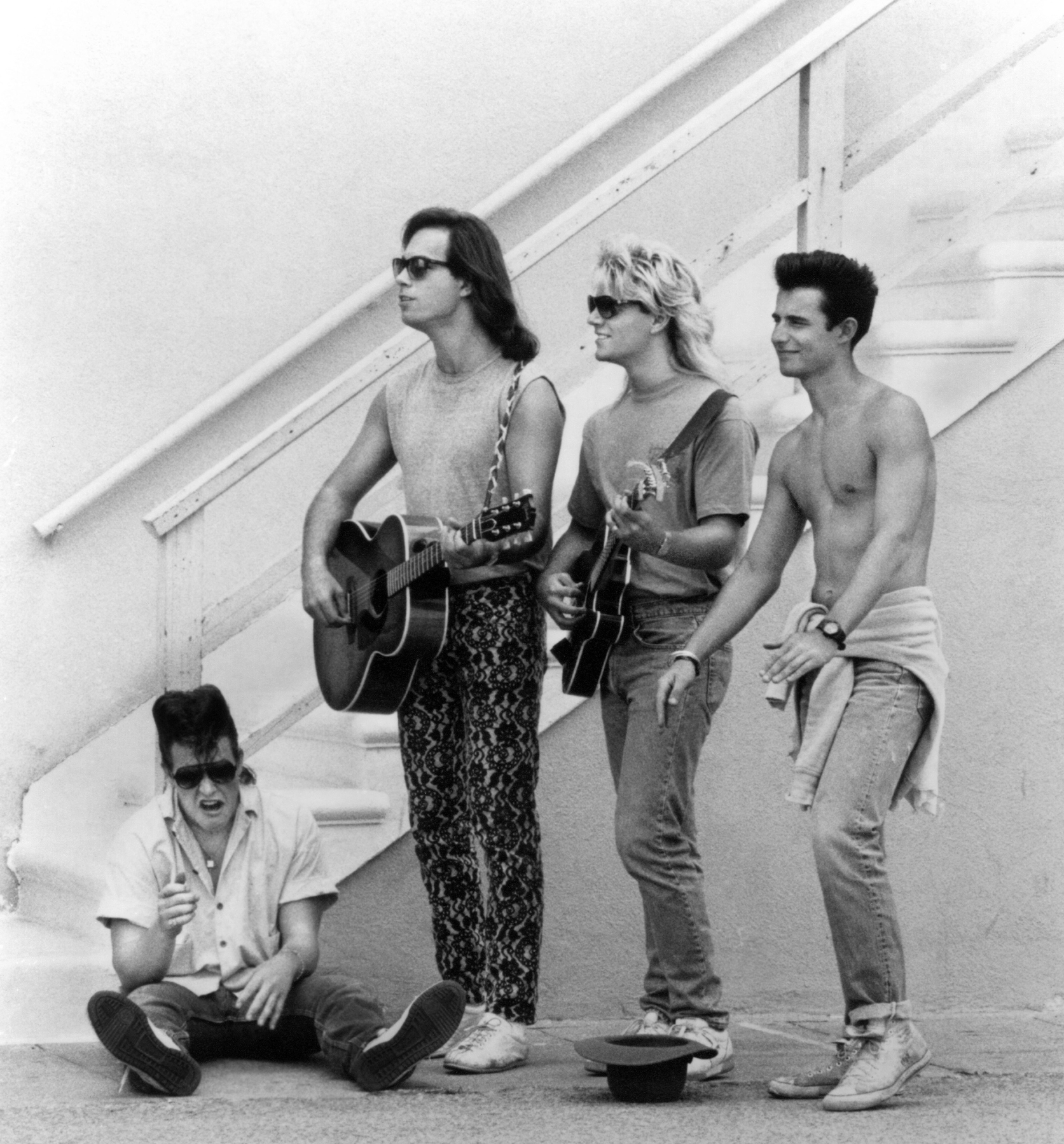 NEW MONKEES, (from left): Dino Kavos, Marty Ross, Larry Saltis, Jared Chandler, (Season 1), 1987. © Columbia Pictures Television / Courtesy: Everett Collection