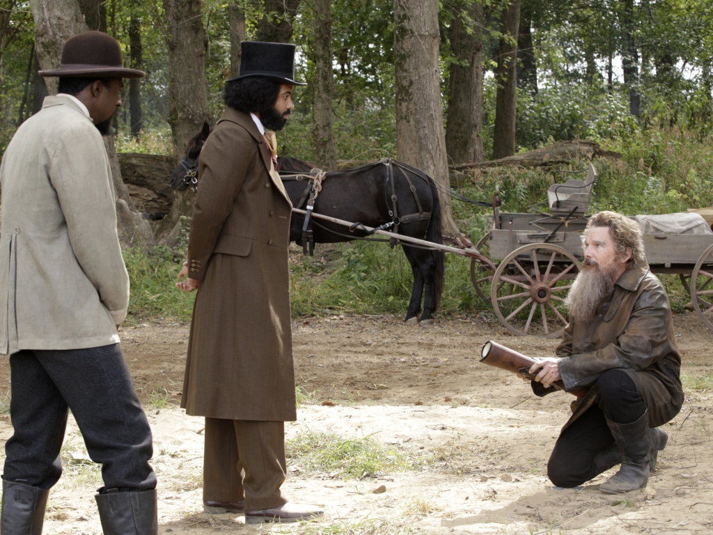 (L-R): Quentin Plair as Emperor, Daveed Diggs as Frederick Douglass and Ethan Hawke as John Brown in THE GOOD LORD BIRD,