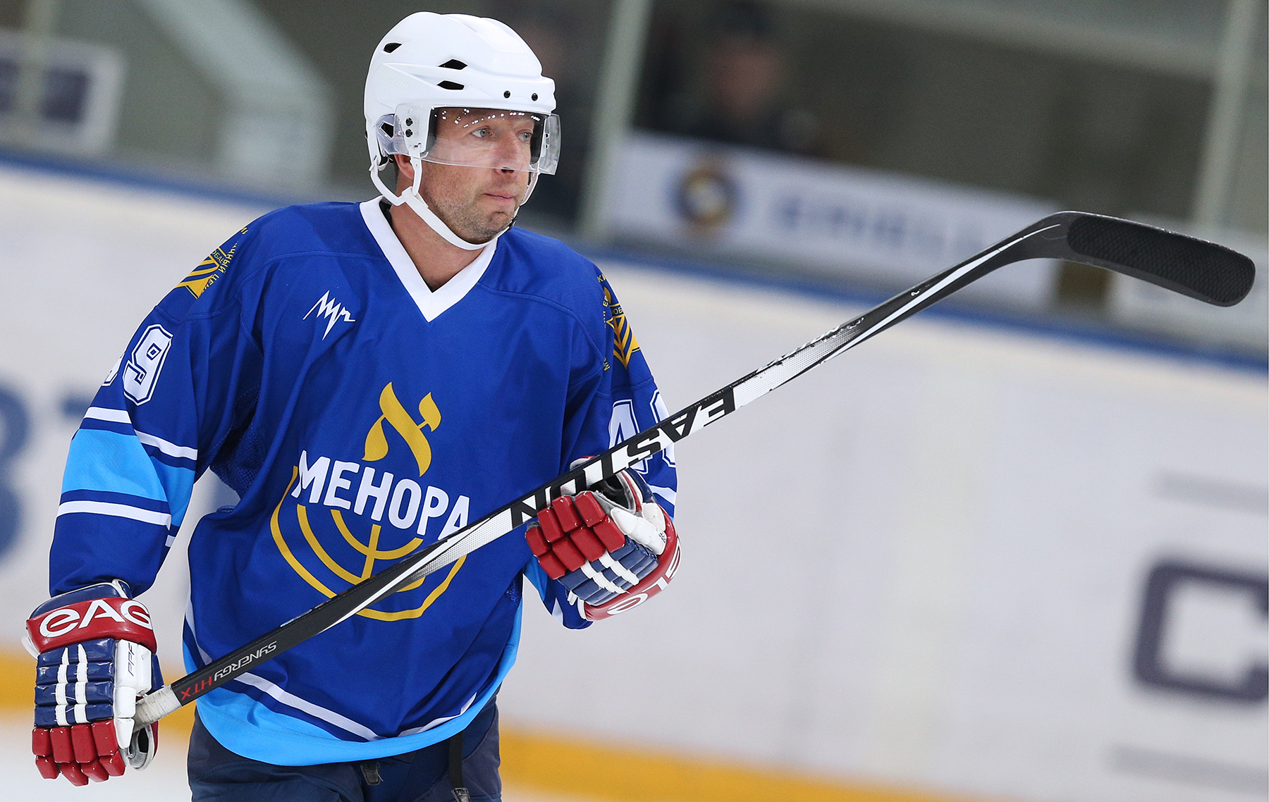 Sept. 13, 2014 - Russian Federation - ITAR-TASS: MOSCOW, RUSSIA. SEPTEMBER 11, 2014. Alltech Group president Dmitry Bosov competets in an ice hockey friendly between Legendy Khokkeya, a Russian All-Star Team, and Menora, a Moscow Jewish community team, at Luzhniki Ice Arena. (Credit Image: © Artyom Korotayev/ITAR-TASS/ZUMA Wire)