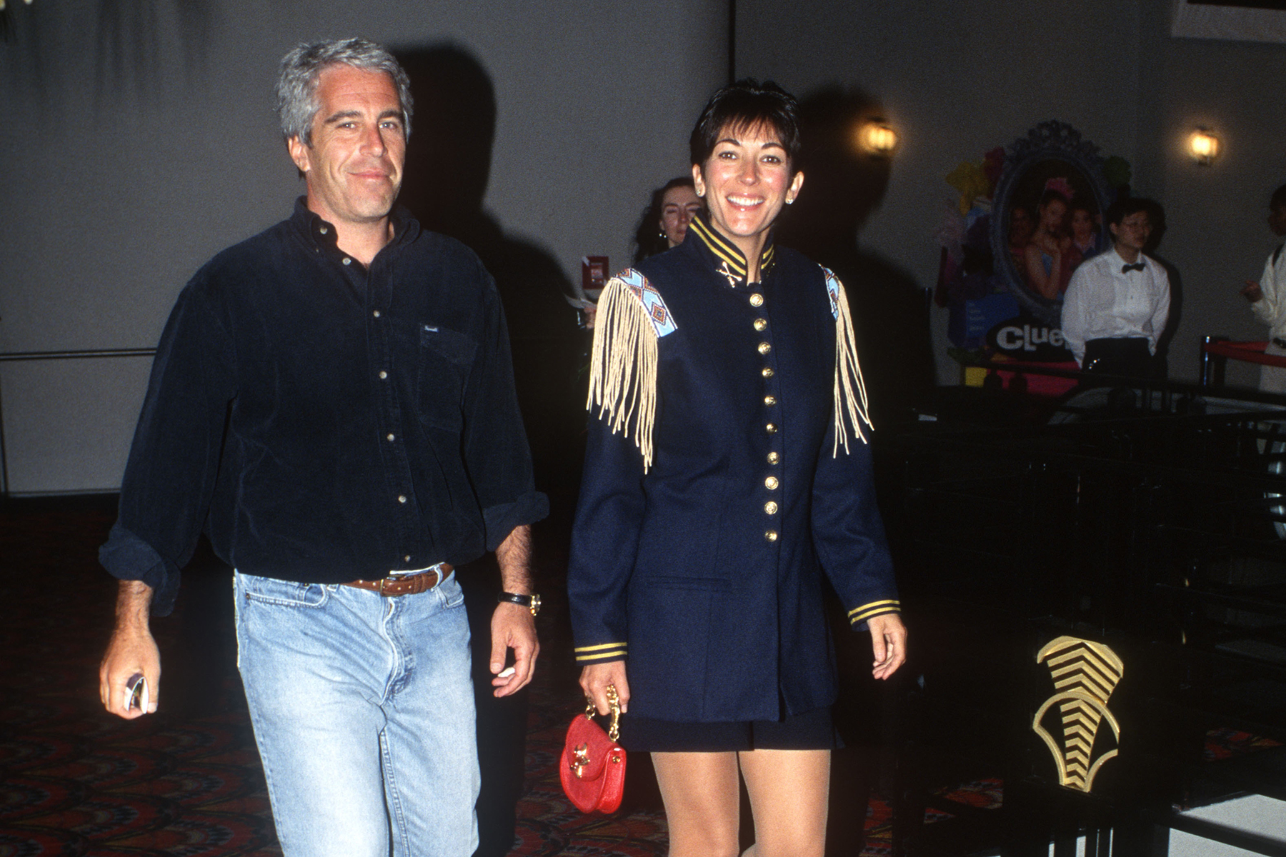 NEW YORK, NY - JUNE 13: Jeffrey Epstein and Ghislaine Maxwell attend Batman Forever/R. McDonald Event on June 13, 1995 in New York City. (Photo by Patrick McMullan via Getty Images)