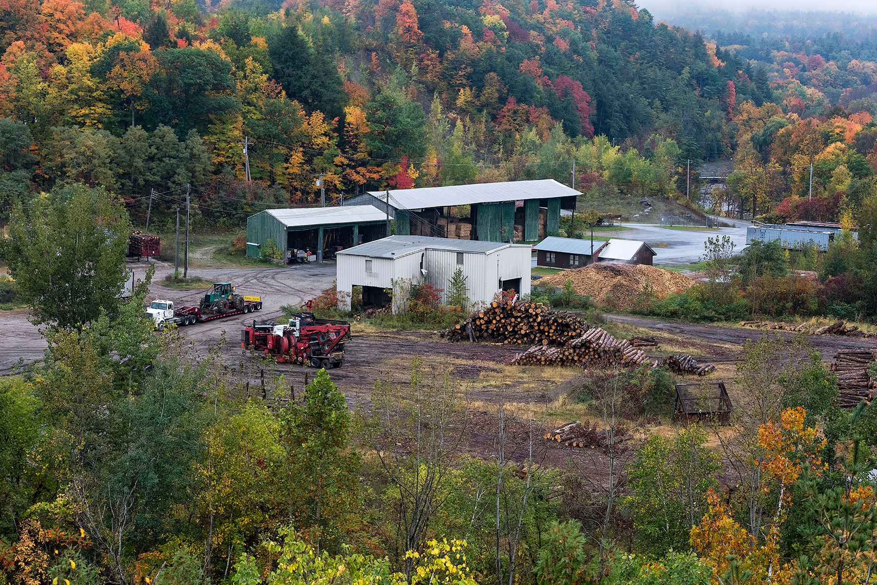 BRISTOL, VERMONT, UNITED STATES - 2018/10/15: Logging industry facility. (Photo by John Greim/LightRocket via Getty Images)