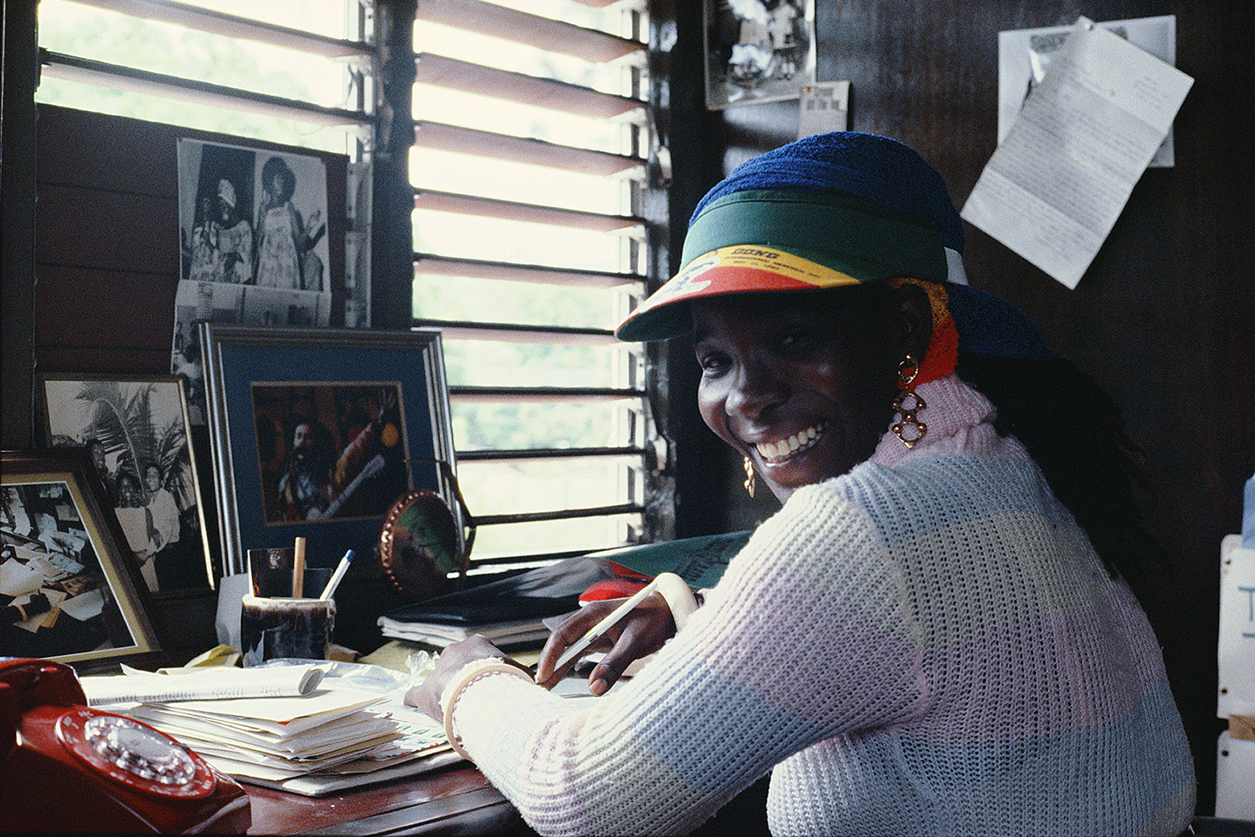 KINGSTON, JAMAICA - CIRCA 1985: Reggae singer and widow of Bob Marley, Rita Marley poses for a portrait circa 1985 in Kingston, Jamaica. (Photo by Lee Jaffe/Getty Images)