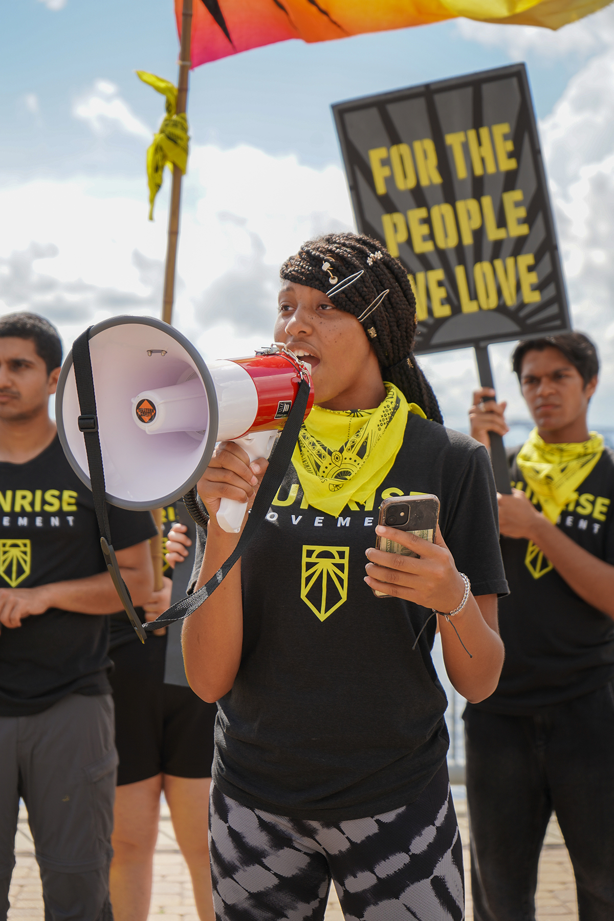 One of the youngest marchers in the group, Chanté, 17, speaks during their demonstration. sunrise movement