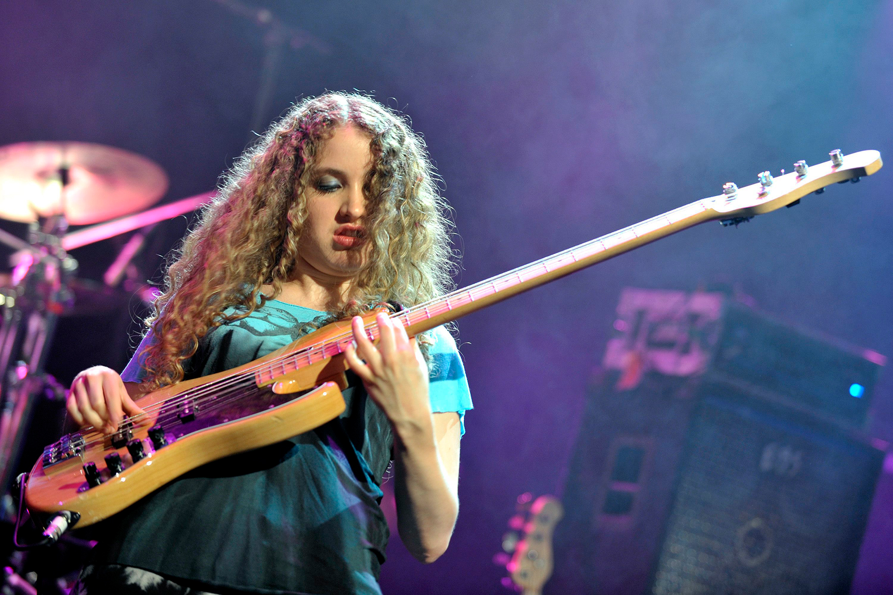 Australian bassist Tal Wilkenfeld performing live with US jazz pianist and composer Herbie Hancock on the Stravinski Hall stage at the 44th Montreux Jazz Festival, in Montreux, Switzerland, late Friday, July 16, 2010. (AP Photo/Keystone, Martial Trezzini)