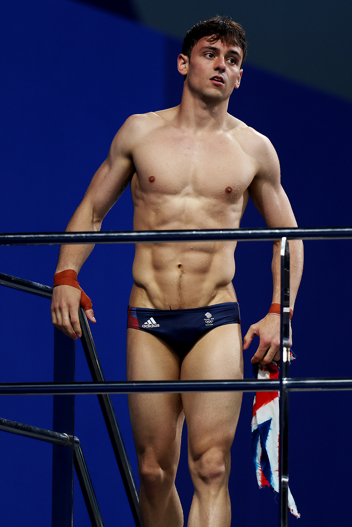 TOKYO, JAPAN - JULY 22: Tom Daley of Team Great Britain during aquatics training at the Tokyo Aquatics Centre ahead of the Tokyo 2020 Olympic Games on July 22, 2021 in Tokyo, Japan. (Photo by Clive Rose/Getty Images)
