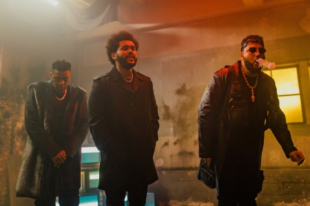 """Belly, The Weeknd and Nas on set of """"Die For It""""."""