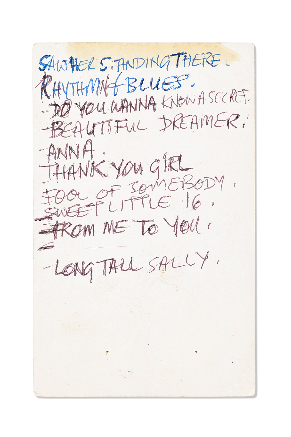 An important handwritten set list by Paul McCartney, 1963 (front)