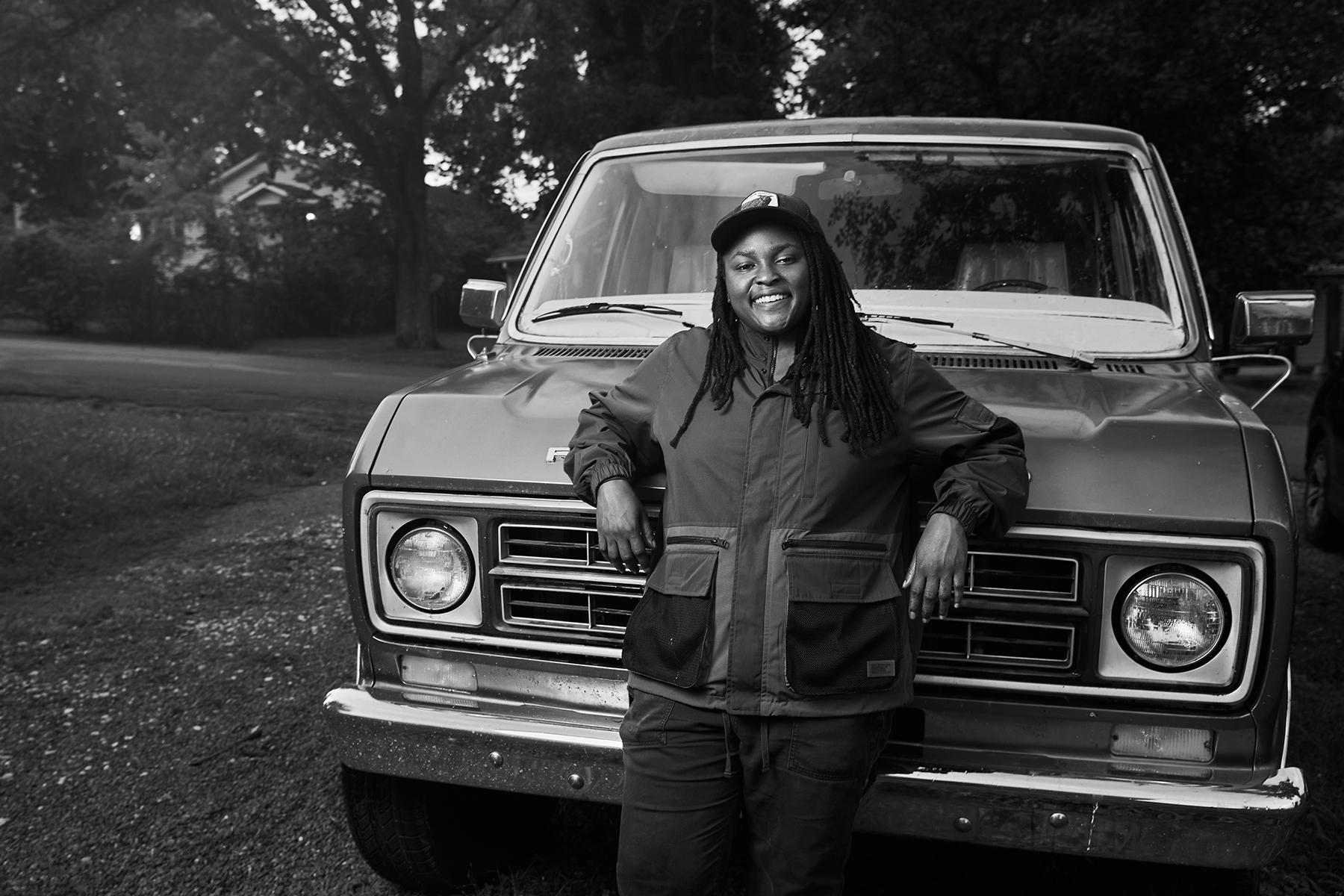 Joy Oladokun at home in Nashville, June 2021.