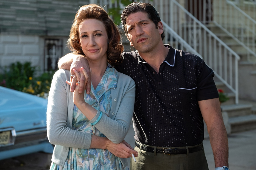 """(L-r) VERA FARMIGA as Livia Soprano and JON BERNTHAL as Johnny Soprano in New Line Cinema and Home Box Office's mob drama """"THE MANY SAINTS OF NEWARK,"""" a Warner Bros. Pictures release."""