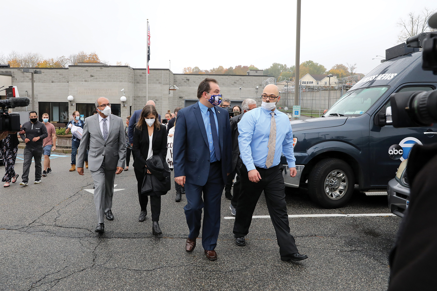 Andrew Krivak, right, walks with exoneree Jeffrey Deskovic after being released from Putnam County jail Oct. 23, 2020 in Carmel. Krivak was freed after 24 years in custody since his arrest in the 1994 rape and murder of 12-year-old Josette Wright. A judge overturned his conviction last year and ordered a new trial.Andrew Krivak Free
