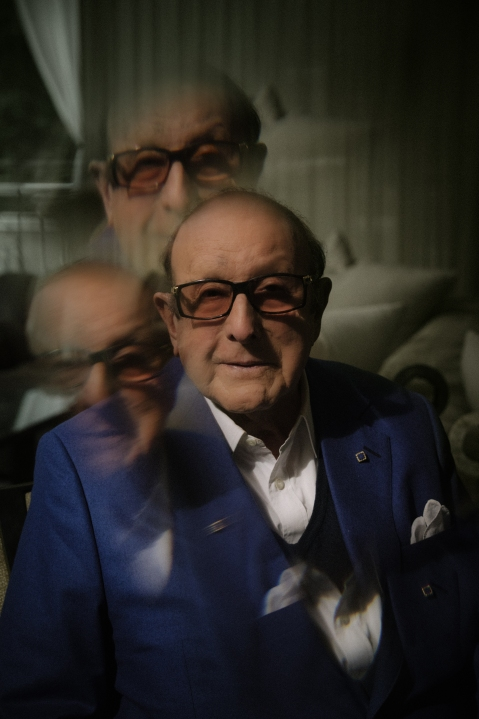 Clive Davis photographed at home for Rolling Stone in August 2021