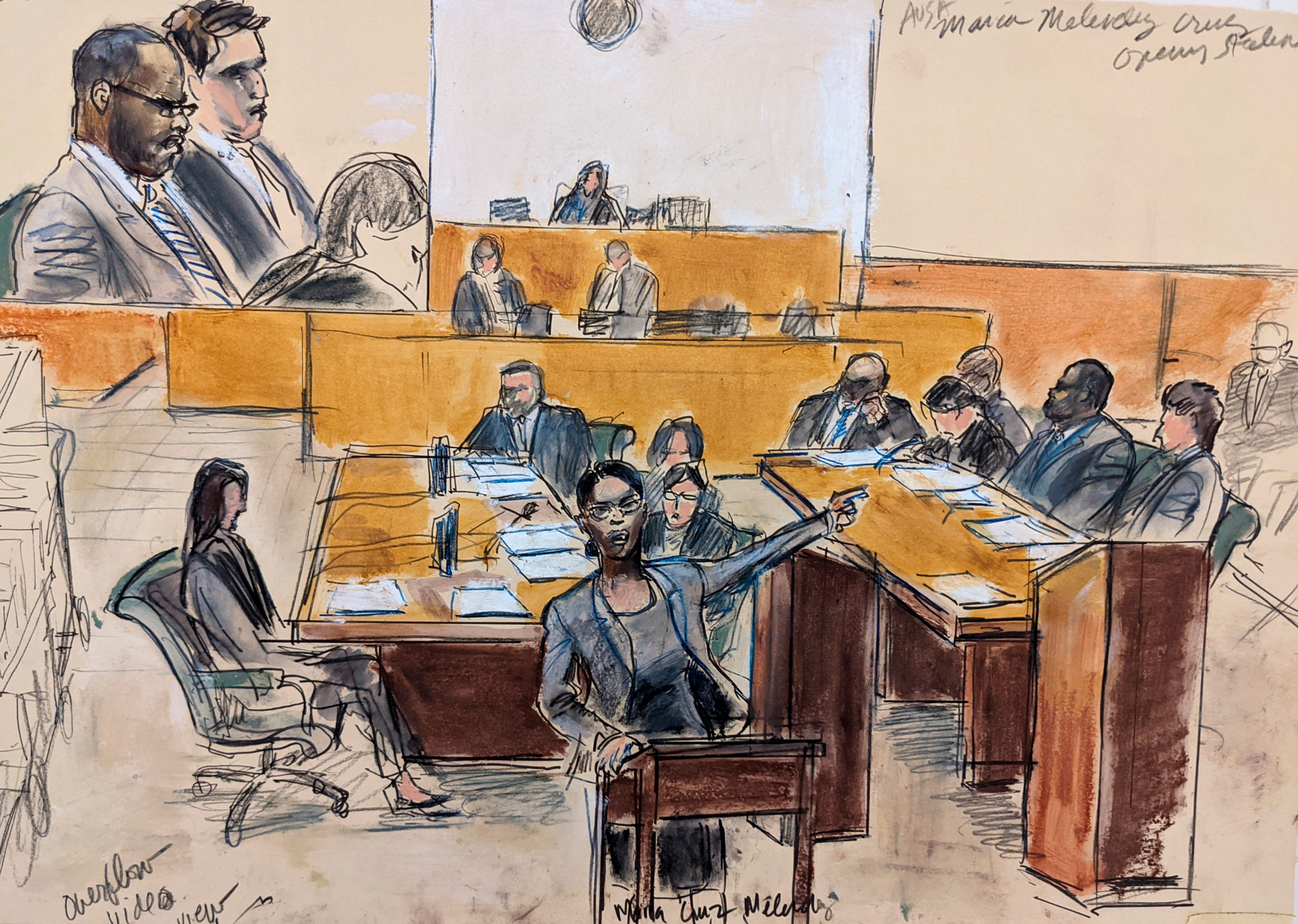 In this courtroom artist's sketch made from a video screen monitor of a Brooklyn courtroom, defendant R. Kelly, top left, listens as Assistant U.S. Attorney Maria Melendez, center, makes opening arguments, Wednesday, Aug. 18, 2021 in New York. The prosecutor described sex abuse claims against Kelly, saying the long-anticipated trial now underway was