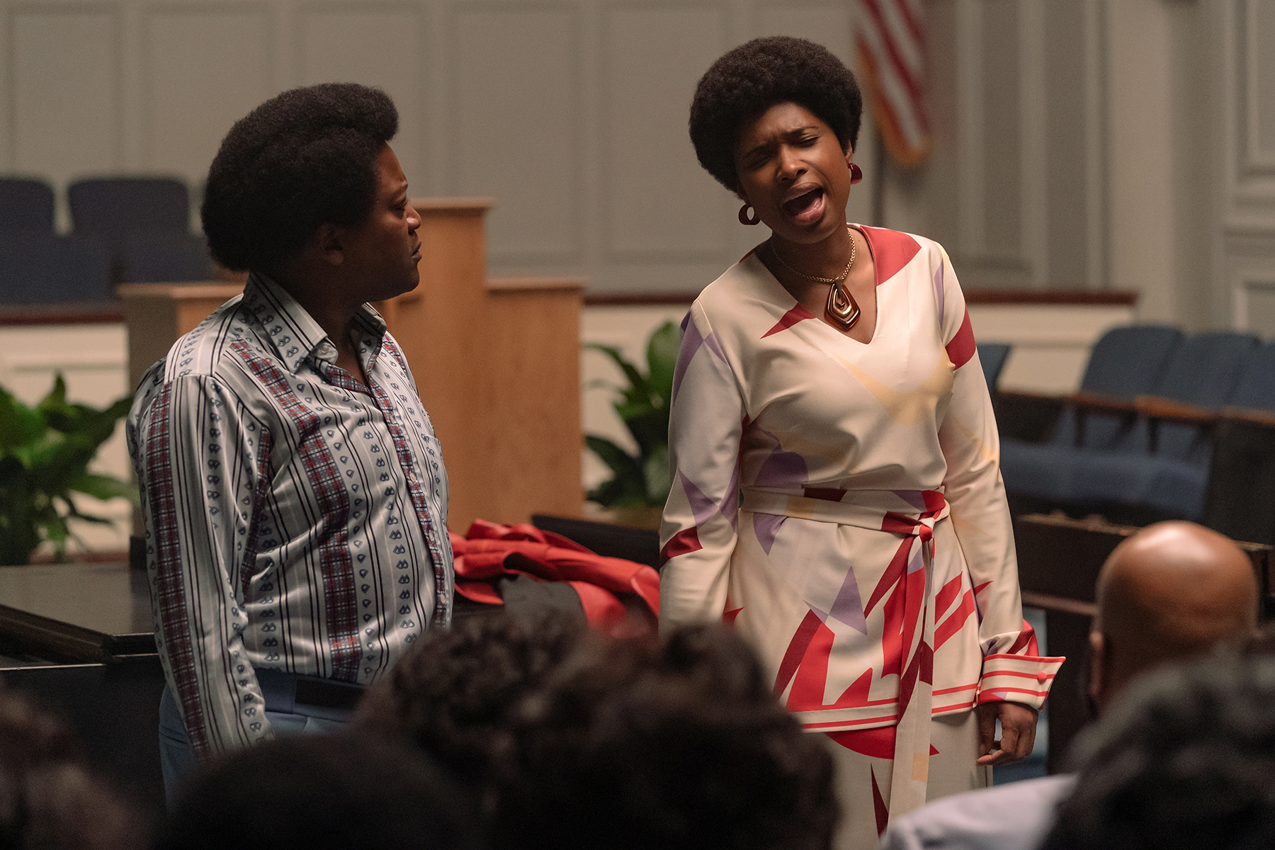 R_22584_RCTituss Burgess stars as Reverend Dr. James Cleveland and Jennifer Hudson as Aretha Franklin in RESPECT, A Metro Goldwyn Mayer Pictures film Photo credit: Quantrell D. Colbert © 2021 Metro-Goldwyn-Mayer Pictures Inc. All Rights Reserved