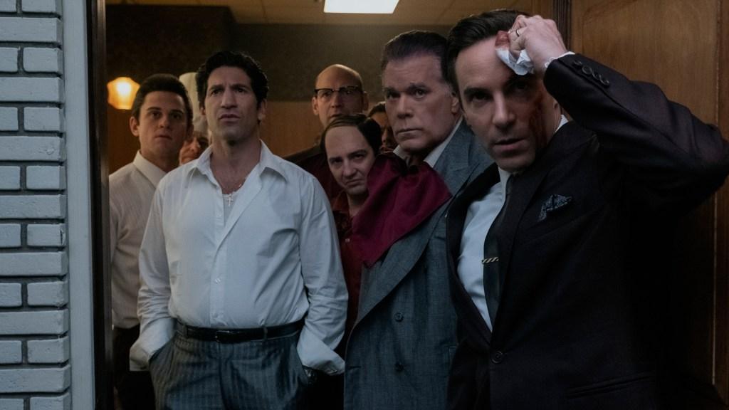"(L-r) BILLY MAGNUSSEN as Paulie Walnuts, JON BERNTHAL as Johnny Soprano, COREY STOLL as Junior Soprano (in back), JOHN MAGARO as Silvio Dante, RAY LIOTTA as ""Hollywood Dick"" Moltisanti and ALESSANDRO NIVOLA as Dickie Moltisanti"