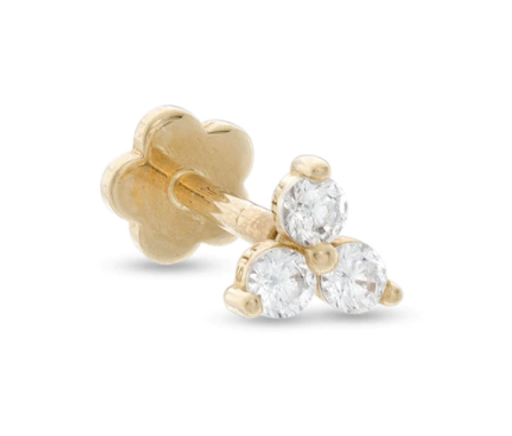 Cubic Zirconia Cluster Cartilage Barbell