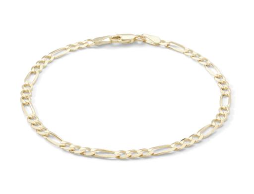 100 Gauge Solid Figaro Chain Bracelet