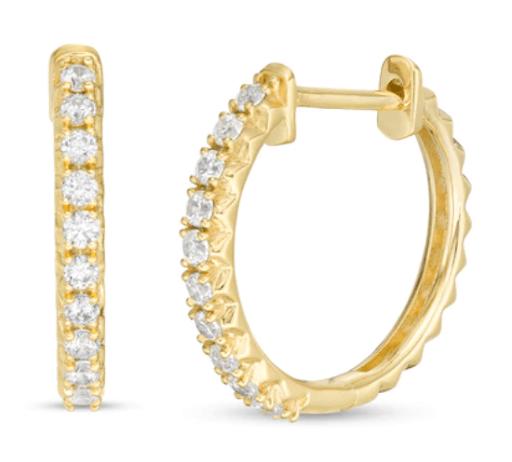 1/3 CT TW Diamond Row Huggie Hoop Earrings