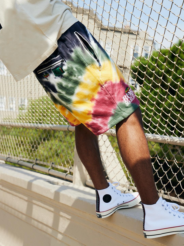 tie dye shorts bob marley