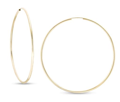 70mm Continuous Tube Hoop Earrings