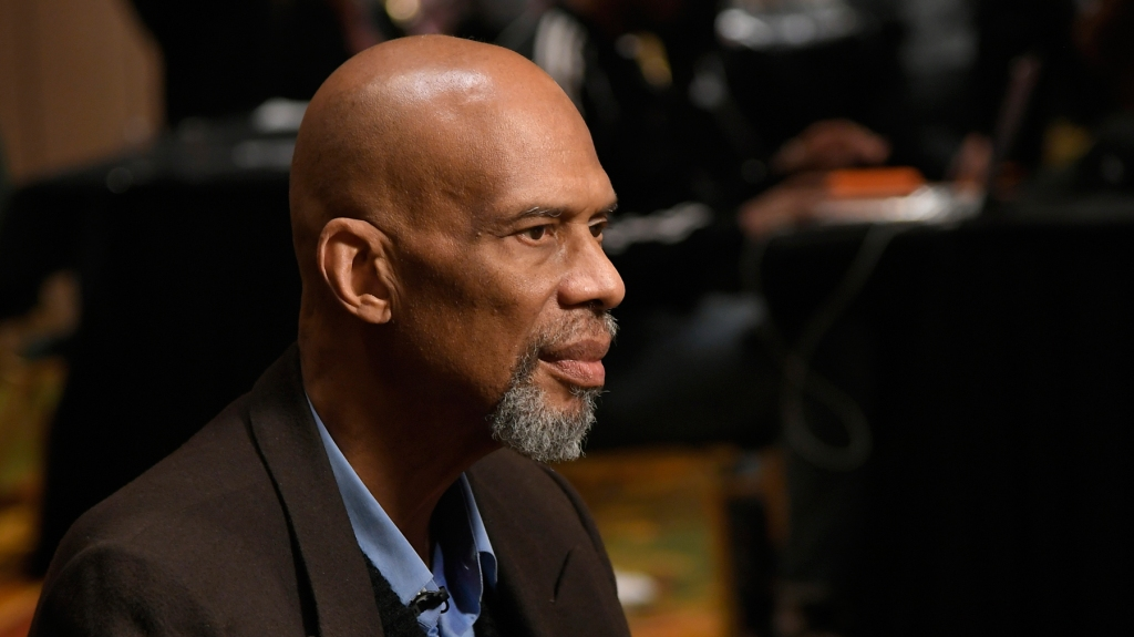CHARLOTTE, NC - FEBRUARY 15: Kareem Abdul Jabbar is interviewed in the National Basketball Retired Players Association media room at the Renaissance Charlotte Suites Hotel on February 15, 2019 in Charlotte, North Carolina. (Photo by John McCoy/Getty Images)