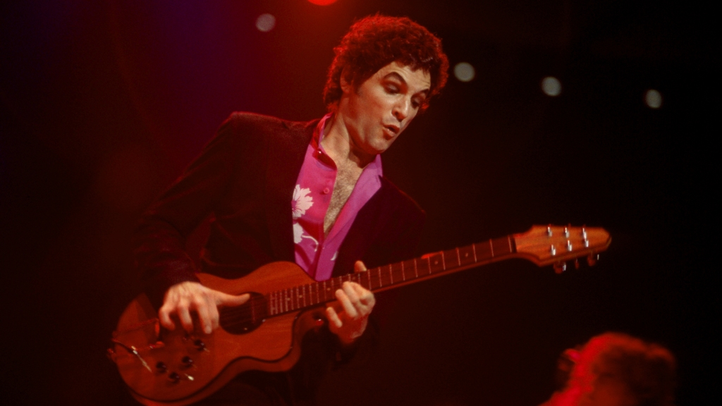 American guitarist Lindsey Buckingham of the group Fleetwood Mac plays on stage during the Tusk Tour on May 23, 1980 at the Joe Louis Arena in Detroit, Michigan.