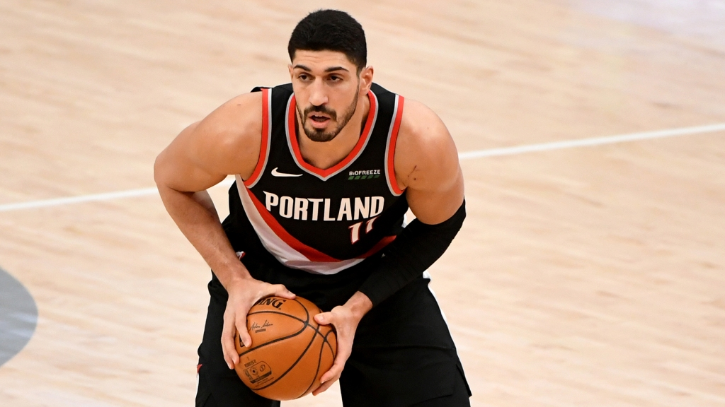 WASHINGTON, DC - FEBRUARY 02: Enes Kanter #11 of the Portland Trail Blazers looks to pass against the Washington Wizards during the first half at Capital One Arena on February 02, 2021 in Washington, DC. NOTE TO USER: User expressly acknowledges and agrees that, by downloading and or using this photograph, User is consenting to the terms and conditions of the Getty Images License Agreement. (Photo by Will Newton/Getty Images)